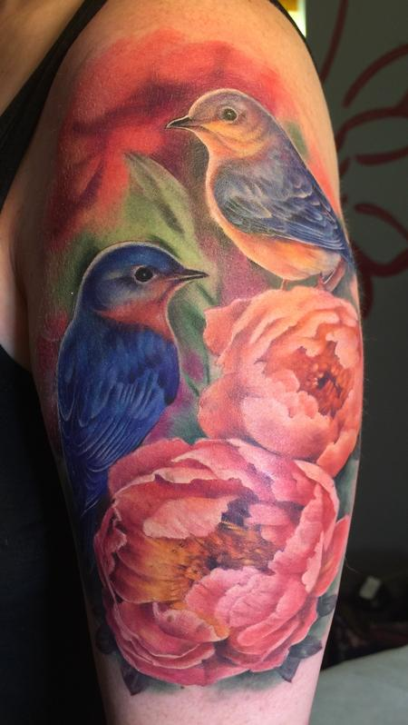 Tattoos - Bluebirds and peonies  - 117807