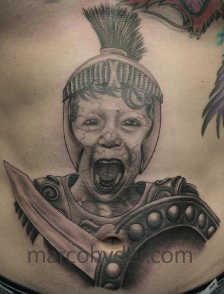 Portrait of Son as Greek Soldier turned to stone Tattoo Design