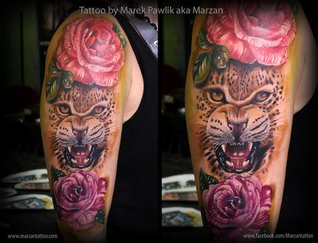 Tattoos - leopard and roses - 119353