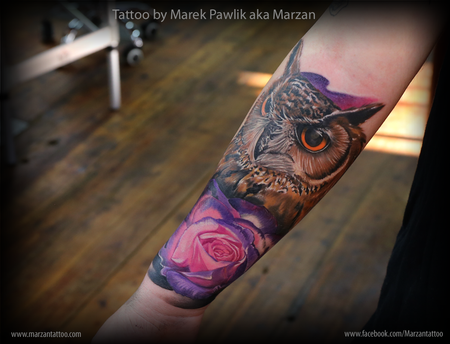 Owl and rose Design Thumbnail