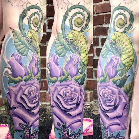 Tattoos - Luna moth caterpillar and roses - 128842