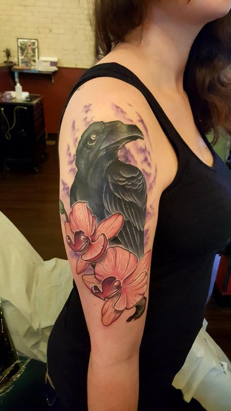 Tattoos - Raven orchid cover up - 122133