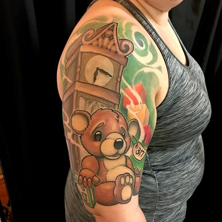 Tattoos - Teddy bear and grandfather clock - 132849