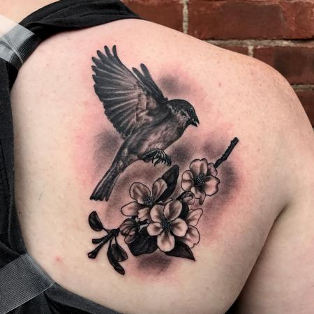 Tattoos - Tree sparrow with apple blossoms - 128841