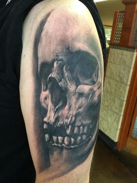 Tattoos - Black and Gray Skull - 119232