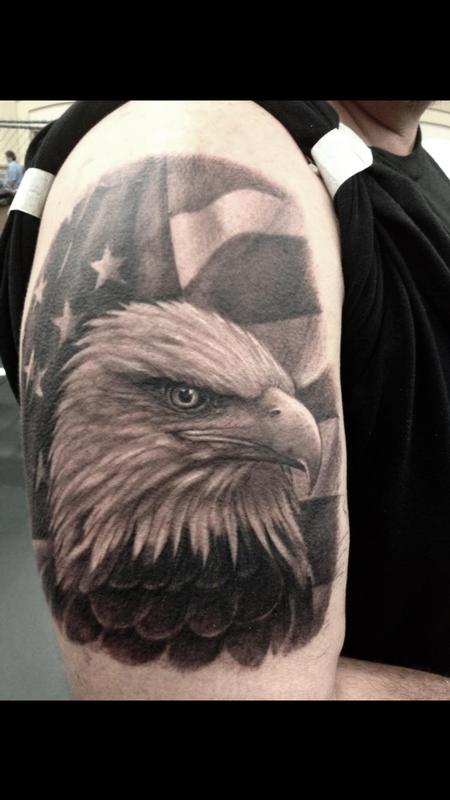 Tattoos - Black and Gray American Eagle - 119234