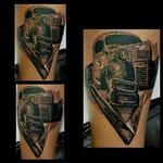 Ratrod Truck and V8 logo Tattoo Design Thumbnail