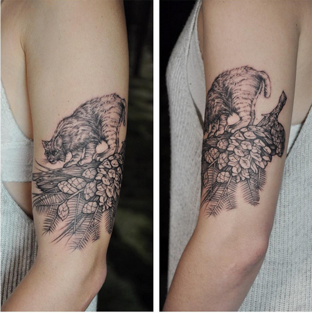 Bobcat and Pinecone. Instagram @MichaelBalesArt Tattoo Thumbnail