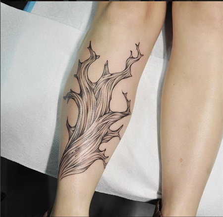Tattoos - Bristlecone Pine Tree on Shin- Instagram @michaelbalesart - 123103
