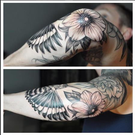 Floral and Bird on Elbow (detail shot)- Instagram @michaelbalesart Design Thumbnail