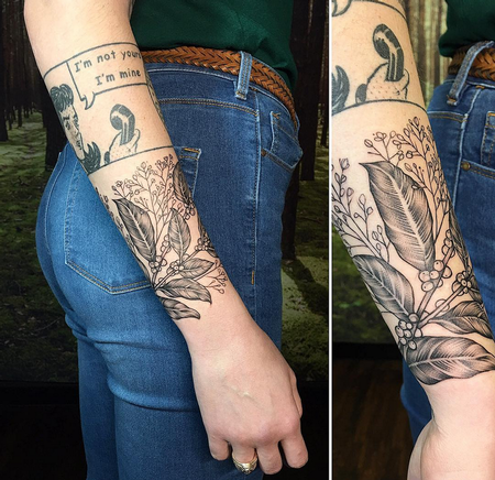 Tattoos - Coffee Plant and Babys Breath on Forearm- Instagram @michaelbalesart - 123105