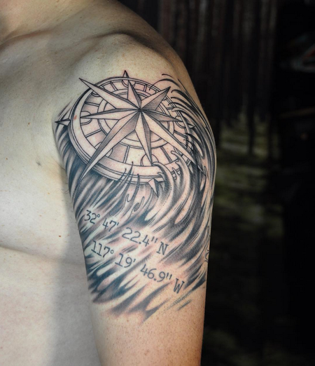 Tattoos - Compass and Coordinates. Instagram @michaelbalesart - 123568