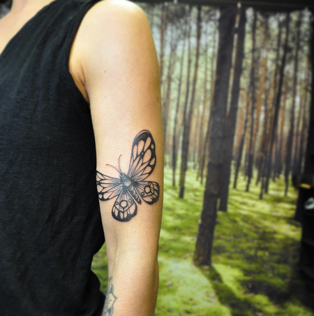 High Contrast Butterfly. Instagram @MichaelBalesArt Tattoo Thumbnail