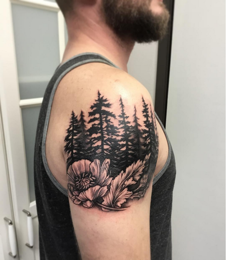 Tattoos - Blackwork Pinetrees and Poppy- Instagram @michaelbalesart - 123563