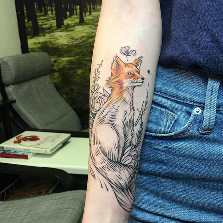 Fox on Arm. Instagram @MichaelBalesArt Tattoo Thumbnail