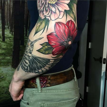 Tattoos - Detail Shot of Sleeve-Color in Progress- Instagram @michaelbalesart - 123111