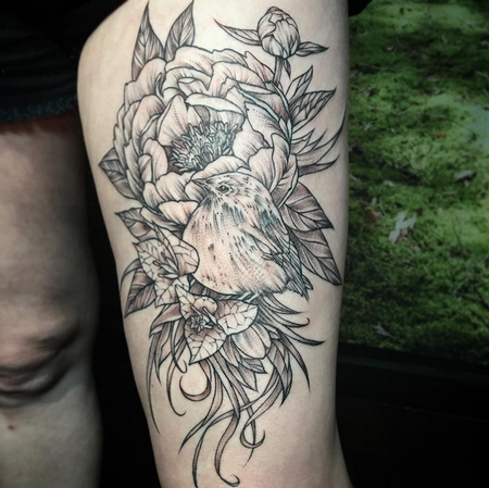 Tattoos - Floral and Realistic Bird on Thigh- Instagram @michaelbalesart - 121908