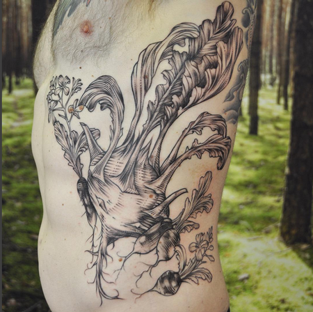 Tattoos - Black and Gray Freehand Kohlrabi and Radish on Ribs- Instagram @michaelbalesart - 121907