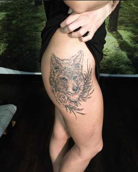 Tattoos - Coyote and Floral on Hip- Instagram @michaelbalesart - 121904