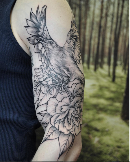 Tattoos - Illustrative Bird and Floral on Shoulder- Instagram @michaelbalesart - 121903