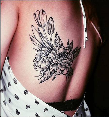 Tattoos - Vintage Floral on Back- Instagram @michaelbalesart - 121899