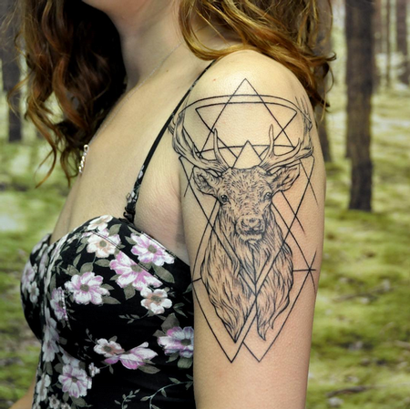 Tattoos - Geometric Stag on Shoulder- Instagram @michaelbalesart - 121896