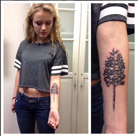 Tattoos - Pine Tree- Instagram @michaelbalesart - 121885