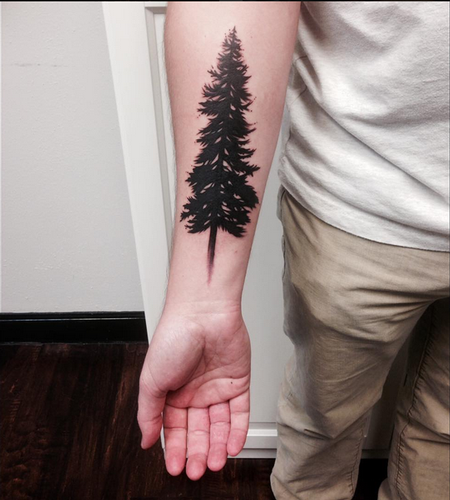Tattoos - Pine Tree- Instagram @michaelbalesart - 121883