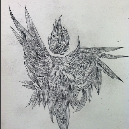 Michael Bales - Feathers and Fire- copper etching- Instagram @michaelbalesart