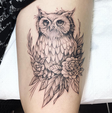Tattoos - Owl on Thigh- Instagram @michaelbalesart - 123565