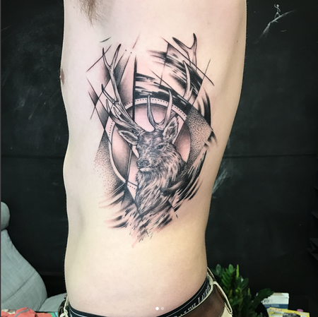 Tattoos - Stag Head and Geometric/Abstract Elements on Ribs- Instagram @MichaelBalesArt - 129796