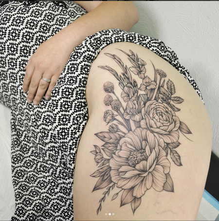 Galdioli and Floral on Thigh- Instagram @MichaelBalesArt Tattoo Design by Michael Bales
