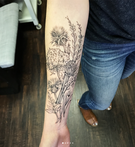 Tattoos - Thistles and Wildflowers on Forearm- Instagram @MichaelBalesArt - 129798