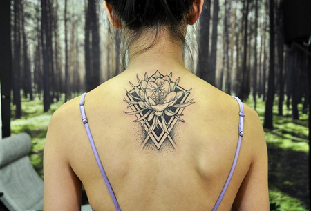Quynh and Geometry on Back- Instagram @MichaelBalesArt Tattoo Design by Michael Bales
