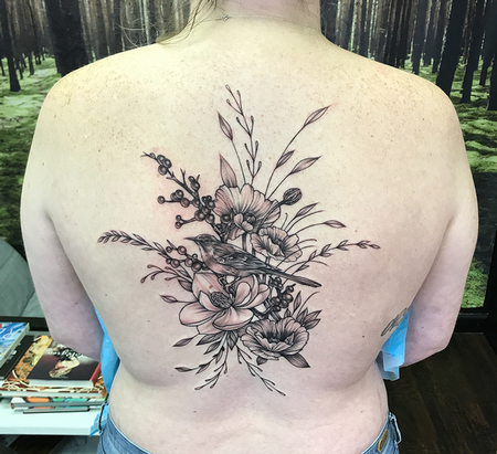 Tattoos - Mockingbird and Floral on Back- Instagram @MichaelBalesArt - 129793