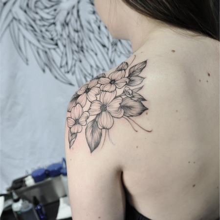 Tattoos - Shoulder Cap of Dogwood Flowers- Instagram @MichaelBalesArt - 129794