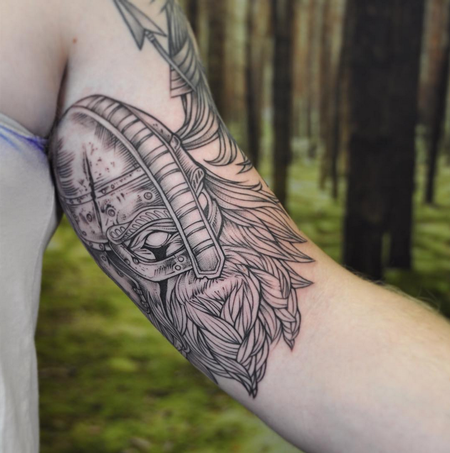 Viking on Inner Arm. Instagram @michaelbalesart Design Thumbnail