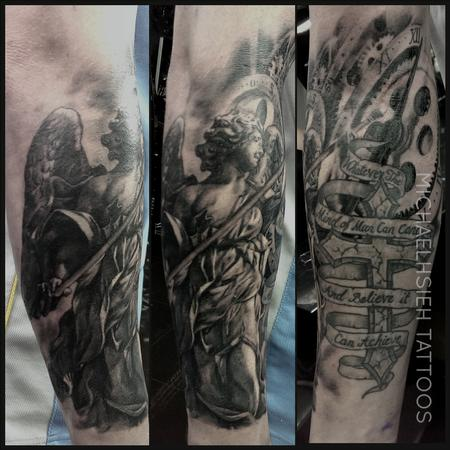 Tattoos - angel and clock. work around some old work (cross) - 99168