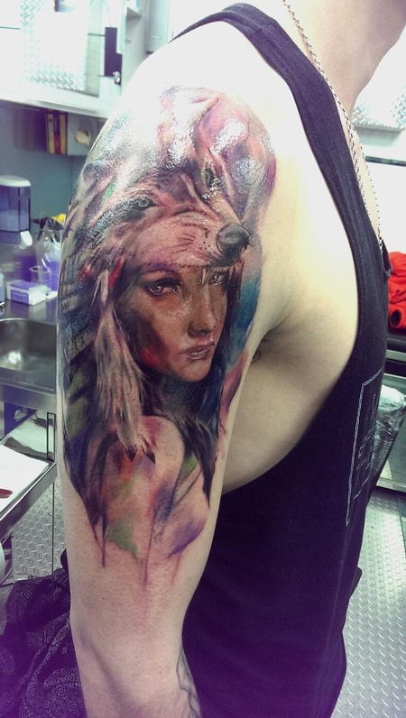 Girl with headdress Tattoo Design