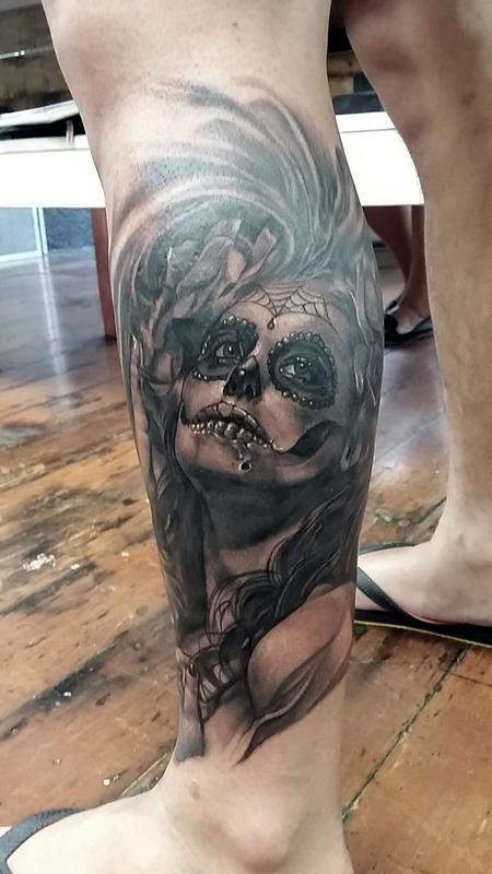 Sugar skull girl Tattoo Design