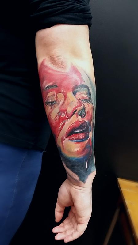 Colour realism female face Tattoo Design