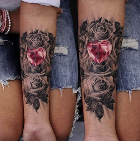 Moni Marino - Heart Diamond and Roses Tattoo