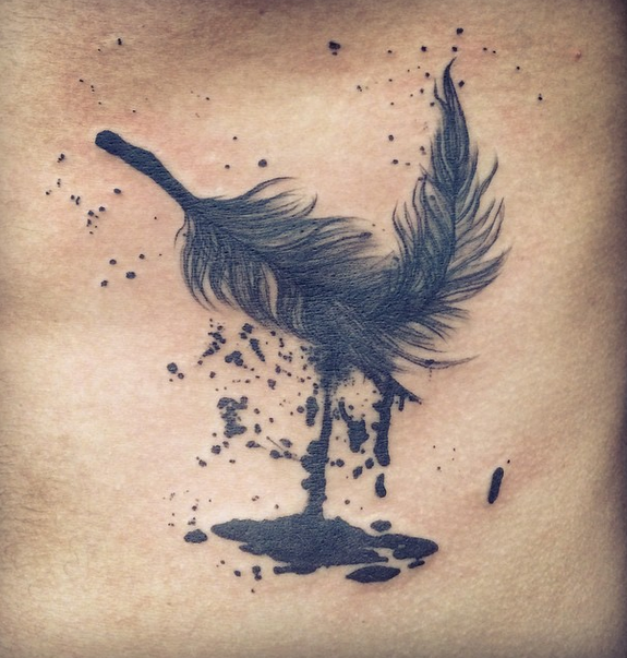 Dillinger escape plan feather tattoo by nickhole arcade for How to plan tattoos