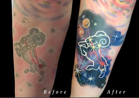 Tattoos - Aries Zodiac Space Constellation Color Rework on Forearm - 130566