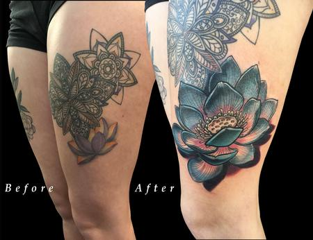 Lotus Flower Thigh Color Coverup Tattoo Design Thumbnail
