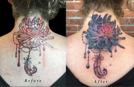 Tattoos - Back of Neck Lettering Cover Up with Chrysanthemum Flower  and Ornamental feather - 130556