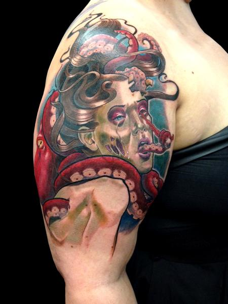 Tattoos - Zombie Girl with Octopus - 108233