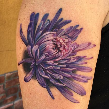 Tattoos - Color Chrysanthemum Tattoo - 128305