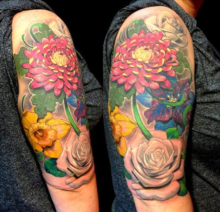 Tattoos - Floral Half Sleeve - 105051