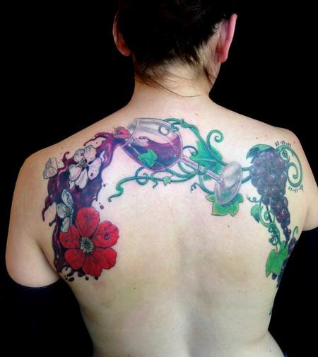 Tattoos - Wine and Flowers - 105052